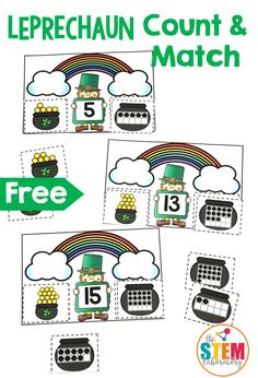 St. Patrick's Day is just around the corner! My students love doing activities with sneaky little leprechauns trying to hide their pot of gold so I was excited to pull together a count and match activity with a fun St. Patty's Day twist. Kids will love this playful game working on number recognition and counting for numbers 1 to 20. Getting Ready To prep the