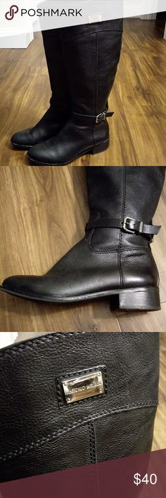 ANTONIO MELANI BLACK TALL LEATHER BOOTS This is a pair of black leather tall boots. Antonio Melani brand The black leather outside of boots is in good condition. Sole around toe of boots and heels do show some wear. Still a very nice pair of boots at a huge discount. I strive to offer excellent condition items and try to notate any imperfections. These boots are not in perfect condition so please don't expect new condition. Photos show condition and wear. Ladies size 5.5 Quick shipping…