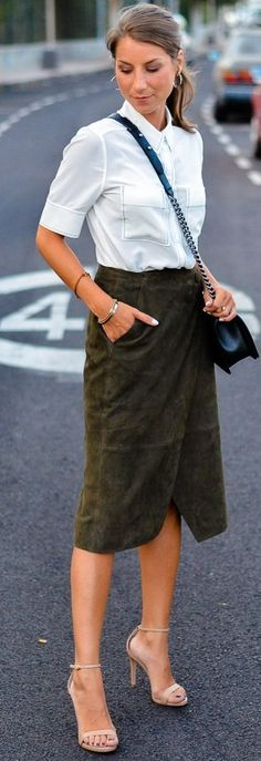 #fall #musthave #trends   White Blouse + Khaki Suede Wrap Skirt