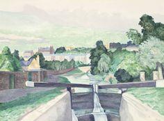 John Nash (British, 1893-1977), The canal lock. Pencil, watercolour and gouache, 40.6 x 55.3 cm.