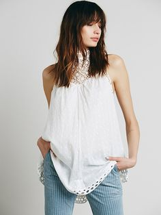 Free People Sleeveless Hi Neck Swiss Dot Tunic at Free People Clothing Boutique