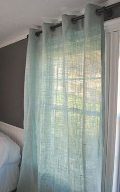 Burlap Curtain by PaulaAndErika on Etsy Love the light flow of these. Will look good in bed room in different color