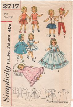 Image result for simplicity 2717 doll clothes