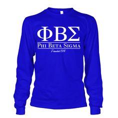 Phi Beta Sigma Collegiate Long Sleeve - Letters Greek Apparel-Black Greek Paraphernalia-Divine Nine Apparel
