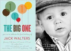 Big One Blue Baby Boy First Birthday Invitation