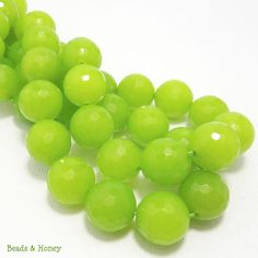 'Springtime Supplies' treasury - Dyed Jade, Bright Lime Green, Round, Faceted, Gemstone Beads, 14mm, Sold by Half Strand, 14pcs  - ID 1161. $9.95, via Etsy.