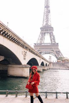 Paris For My birthday Part 1. -Sezane Jacket (old, last seen here, similar here), Club Monaco Sweater (old, last seen here, similar here), Club Monaco Skirt, Stuart Weitzman Boots, Mansur Gavriel Clutch, Topshop Beret & Red Sunglasses