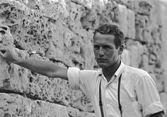 """""""The Star of David on the silky skin.""""--Tennessee Williams describing Paul Newman/Interview with James Paul Newman Young, Paul Newman Robert Redford, Joan Collins, Steve Mcqueen, Paul Newman Joven, Classic Hollywood, Old Hollywood, Hollywood Cinema, Hollywood Glamour"""