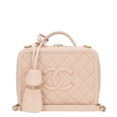 b44752488d0f  Chanel Light Beige Caviar Small Filigree Vanity Case  Bag Beige Chanel Bag