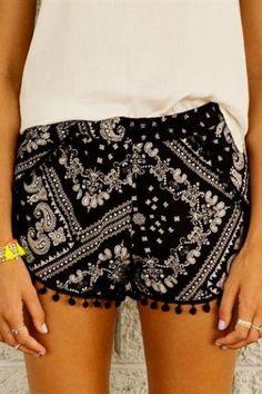 Patterned shorts.
