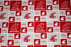 Washington State Cougars, NCAA University Fabric,  100% Cotton Patchwork Fabric, Crafts, Quilts, Clothing, Home Decor, Continuous Yardage by MeeMawsBags on Etsy