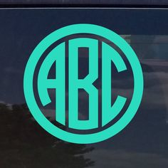 Custom Circle Monogram Initials Vinyl Decal Sticker Cars Yeti Cup Laptop Phone