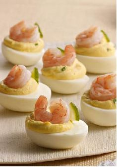 Deviled Eggs with Shrimp – There's really only one thing that could be better than creamy deviled eggs with fresh chives and lemon: the same, with shrimp on top!