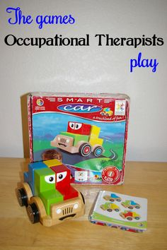 A game to teach visual perceptual skills and more! Click on the link to see a list of store bought games to make therapy fun.