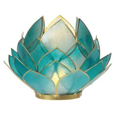 Luna Bazaar Full Bloom Capiz Lotus Candle Holder Kai Design, Turquoise Blue, Gold-Edged) - for Home Decor, Parties, and Wedding Decorations Blue Candle Holders, Lotus Candle Holder, Candlestick Holders, Seashell Candles, Gold Candles, Votive Candles, Candle Wedding Favors, Wedding Decorations, Manualidades