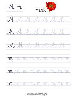 karty do nauki liter Cursive Small Letters, Preschool Writing, Writing Worksheets, First Grade Math, Handwriting, Hand Lettering, Classroom, Education, Kids