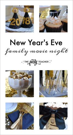 Plan an easy on mom New Year's Eve family movie night with The Party Teacher | http://thepartyteacher.com/2017/12/18/parties-new-years-eve-party-movie-night/