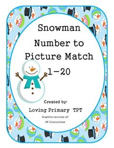 Here is a simple and fun number to picture match game.  Students will match the numerals 1-20 with pictures of snowman 1-20.The snowmen are arranged in an organized manner on the cards to help develop number recognition skills.