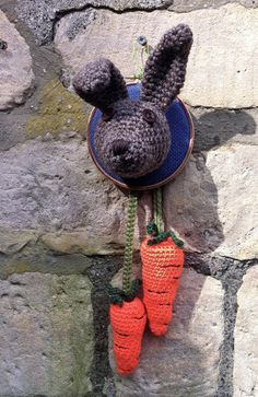 Crochetdermy rabbit with carrots.
