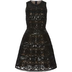 Elie Saab Geometric Embroidered Short Dress (172.370 CZK) ❤ liked on Polyvore featuring dresses, elie saab, vestido, mini dress, sleeveless dress, sleeveless a line dress, sleeveless short dress and embroidered dress