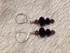 sterling silver leverback EARRINGS faceted purple metallic crystal rondells, swarovski purple crystal bicons on Etsy, $19.00