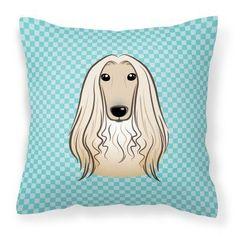 Carolines Treasures Checkerboard Blue Afghan Hound Square Decorative Outdoor Pillow - BB1182PW1414