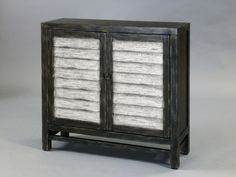 Traditional Black White Wood Doors Hall Chest