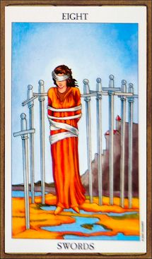 Detailed Tarot card meaning for the Eight of Swords including upright and reversed card meanings. Access the Biddy Tarot Card Meanings database - an extensive Tarot resource. Rider Waite Tarot Cards, Tarot Significado, Tarot Cards For Beginners, The Sun Tarot, Tarot Gratis, Tarot Card Meanings, Tarot Spreads, Tarot Readers, Major Arcana