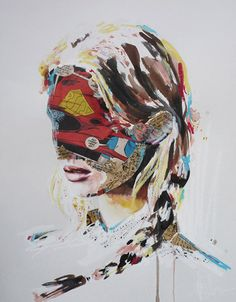 Mixed media paintings by Sandra Chevrier.