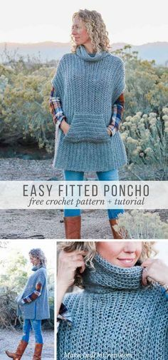 This modern free crochet poncho pattern is a minimalist dream come true! Cozy, not cumbersome! This simple free crochet poncho pattern is a little more fitted than most, offering a versatile wardrobe staple that's perfect for layering. Crochet Diy, Crochet Motifs, Crochet Woman, Crochet Shawl, Freeform Crochet, Crochet Scarves, Crochet Clothes, Crochet Sweaters, Crochet Vests