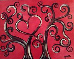 "Tree of Love - Original Painting on 11x14"" Canvas Panel on Etsy, $15.00"