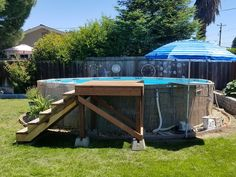 above ground pool deck decorating ideas Above Ground Pool Stairs, Intex Above Ground Pools, Best Above Ground Pool, Above Ground Pool Landscaping, Backyard Pool Landscaping, In Ground Pools, Landscaping Ideas, Deck Ideas For Above Ground Pools, Backyard Ideas
