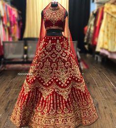 Red velvet bridal Lehenga with intricate dabka work Lehenga with collar blouse Beautiful Bridal Dresses, Wedding Dresses For Girls, Indian Wedding Outfits, Bridal Wedding Dresses, Indian Outfits, Wedding Lehnga, Pakistani Outfits, Indian Clothes, Wedding Attire