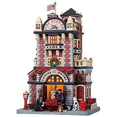 Lemax Village Collection Christmas Village Porcelain Lighted House - Engine House No. 23