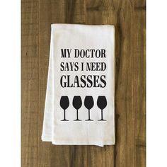 One Bella Casa I Need Glasses Black Tea Towel