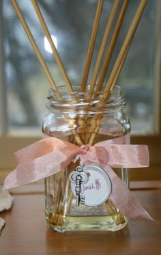 diy diffuser...decorate mason jar, add wooden diffusers & bottle of scented oil.  Wrap and Gift!