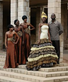 African Bride and groom with bridesmaids  ~