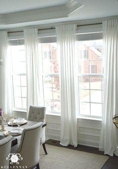 Ikea ritva curtain panels in dining room ikea white curtains, diy curtains, curtains with Dining Room Curtains, Dining Room Windows, Cool Curtains, Curtains Living, White Curtains, Panel Curtains, Curtain Panels, Neutral Curtains, Hanging Curtains