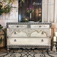 Large dresser drawer updated with the help of a custom mix of several Modern Masters Metallic Paints | Revive in Style