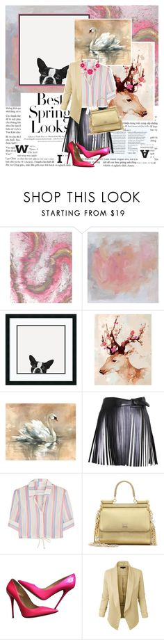 """""""Deer Me"""" by la-belle-folie ❤ liked on Polyvore featuring Leftbank Art, H&M, Alaïa, Solid & Striped, Dolce&Gabbana, Jimmy Choo and LE3NO"""