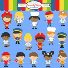 Community Helpers Clipart - 16 graphics for educational use, craft projects and more.