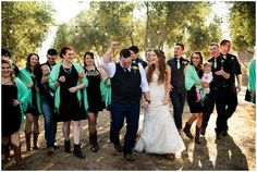 Wedding party for the country rustic wedding at the Queen Creek Olive Mill in Arizona.