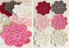 Crochet Flower Coasters...pattern here: http://www.yvestown.com/archive/2011/02/flower-crochet.html