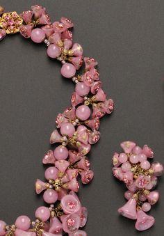 Miriam Haskell - Parure 'Clochettes' - Perles de Verre et Strass Rose