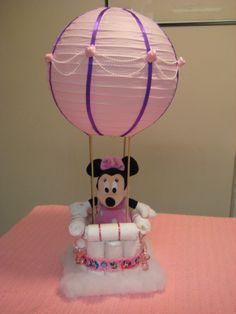 Minnie Mouse hot air balloon diaper cake