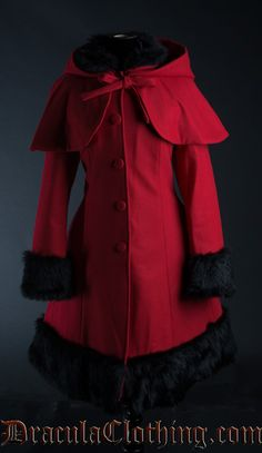 Thick Red Winter Wool Coat str L