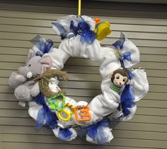 Baby Shower Wreath - cloth diapers, ribbon and various toys