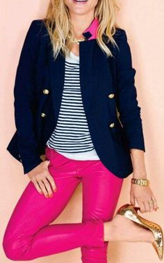 Pink pants, navy top.  Spring teacher outfit