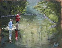 """River Fishing by Andie Freeman Oil ~ 24"""" x 30"""" https://www.pinterest.com/andie_freeman/"""