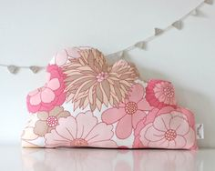Vintage Pink Floral Fabric Cloud Cushion by TheFoxintheAttic